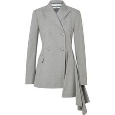 Off-White Asymmetric checked cotton blazer (111.125 RUB) ❤ liked on Polyvore featuring outerwear, jackets, blazers, checkered blazer, grey blazer, off white jacket, drape jacket and cotton blazer