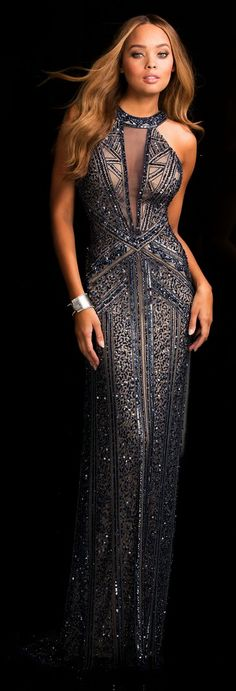 Prom Dresses Evening Dresses by SCALA<BR>asc48696<BR>Illusion jewel neckline center embellished with bead work in graphic design to open back.