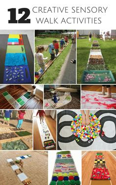 These creative sensory walk activities for kids are great for exploring the senses., DIY and Crafts, 12 Creative Sensory Walk Activities for Kids. These ideas are great for sensory learning. Diy Sensory Board, Sensory Wall, Baby Sensory, Sensory Bins, Sensory Activities, Infant Activities, Activities For Kids, Learning Activities, Sensory Bottles