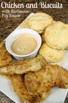 Southern comfort food at its best! Homemade Chicken and Biscuits with Barbecue Fry Sauce ~ NEW recipe in our 31 Days of 31 Minute Dinners series | 5DollarDinners.com