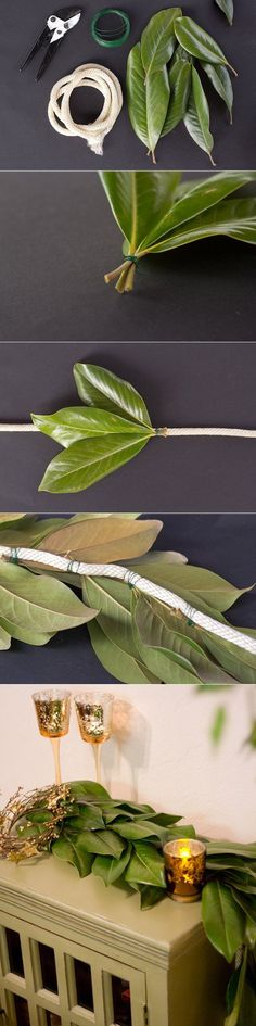 DIY: How to Make a Magnolia Leaf Garland - by wrapping the leaves (you can also use evergreens like spruce or pine) and wire around cording or jute - via The Sweetest Occasion(How To Make Christmas Centerpieces) Diy Christmas Garland, Christmas Crafts, Christmas Decorations, Holiday Decor, Christmas Centerpieces, Magnolia Leaf Garland, Magnolia Leaves, Deco Floral, Arte Floral