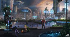 Personal project - a visual development of a sci-fi story, set in a metropolis, where humans co-exist with alien visitors. Fantasy City, Sci Fi Fantasy, Fantasy World, Futuristic City, Futuristic Architecture, Sci Fi City, Sci Fi Environment, Environment Design, Alien Planet