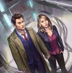 The 10th Doctor and Rose Tyler. Doctor Who 10, Ninth Doctor, Doctor Who Nails, Doctor Who Fan Art, Doctor Who Rose Tyler, Tardis Art, Sherlock, Ships, Regrets