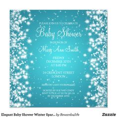 Shop Elegant Baby Shower Winter Sparkle Turquoise Invitation created by Personalize it with photos & text or purchase as is! Sparkle Baby Shower, Classy Baby Shower, Baby Shower Winter, Elegant Invitations, Rsvp, Turquoise, Elegant Baby Shower, Teal