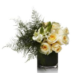 H.Bloom Contemporary Collection Floral Arrangement featuring ivory roses, ornithogalum, mini crystal blush calla lilies, and long plumosus fern.
