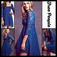 """FREE PEOPLE Petit Trianon Lace Short Dress RETAIL: $250     NEW WITH TAGS  FREE PEOPLE Petit Trianon Lace Short Dress                                                                  * An empire A-line silhouette, square neck, & 3/4 sleeves * Allover eyelet embellished crochet lace * Side zip, hi-lo hem; Lined * Measures about 33""""-39"""" long;Tagged size 4 (S). Prom  * Vintage feel Fabric:Cotton, Nylon & Polyester  Color:Evening Blue  No Trades ✅ Offers Considered/Bundle Discounts✅ *Please use…"""