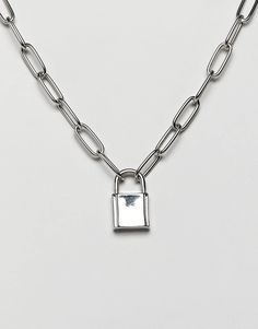 Shop ASOS DESIGN necklace with hardware chain and padlock in silver. With a variety of delivery, payment and return options available, shopping with ASOS is easy and secure. Shop with ASOS today. Long Silver Necklace, Silver Necklaces, Sterling Silver Jewelry, Necklace Chain, Padlock Necklace, Silver Rings, Sea Glass Jewelry, Body Jewelry, Silver Shop