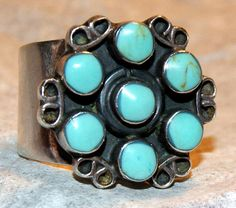 ANTIQUE ZUNI RING Turquoise Sterling Silver Size by AuctionHunter, $110.00