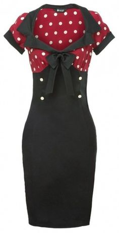 Vintage Style Rockabilly Dress Red Polka Dot Pencil Pinup Swing Retro 50'S | eBay