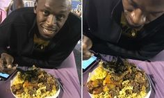 Usain Bolt refuels with huge plate of pork and pasta during filming for advert as eight-time Olympic champion looks ahead to career finale      Eight-time Olympic champion Usain Bolt was filmed eating pork and pasta     The Jamaican sprint star was taking a breather while filming an advert     Bolt is building up to his career finale at World Championships in London