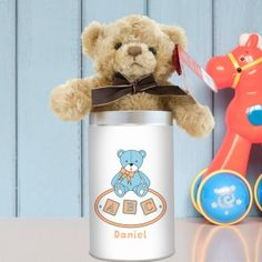 Personalised Teddy in a Tin - Blue ABC Unique Baby Gifts, New Baby Gifts, Gifts For Boys, Boy Or Girl, New Baby Products, Personalized Gifts, Tin, Teddy Bear, Blue