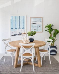 Our 'Round Lee Dining Table' looking all lovely and nautical in this dining space . this popular table has a diameter of is made… Round Dining Table Small, Pedestal Dining Table, Dining Room Table, Traditional Dining Tables, Contemporary Kitchens, Contemporary Bedroom, Home, Beach Furniture, Design