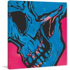 Marmont Hill Skull 2 inch Print on Canvas, Size: 24 inch x 24 inch, Multicolor