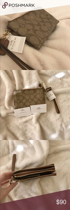 Coach wristlet Coach wristlet in khaki. Double zip. Has two card slots. Measures 6.5x3.5in. Signature C design. Completely new with tags   Price negotiable Coach Bags Clutches & Wristlets