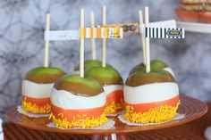 triple dipped candycorn apples  #halloween, #desserts