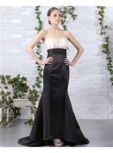 Trumpet-Mermaid Court Train Satin Strapless Sleeveless Empire Black Bridesmaid Dress With Zipper Mermaid Evening Dresses, Formal Evening Dresses, Evening Gowns, Strapless Dress Formal, Bridesmaid Dresses Online, Black Bridesmaid Dresses, Elastic Satin, Special Occasion Dresses, Wedding Gowns