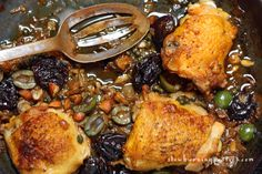 The Chicken Marbella recipe was invented by the late Sheila Lukins, the cooking mastermind behind the famous Silver Palate Cookbook. Silver Palate Cookbook, Chicken Marbella, Chicken Thighs, Healthy Eats, Chicken Recipes, Cooking, Sweet, Kitchen, Eat Healthy