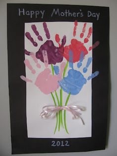 Mother's Day Craft Handprint Bouquet, Frame it with all four my boys' handprints!
