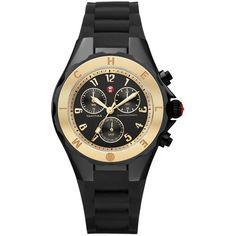 Pre-owned Brand New Michele Jelly Bean Gold / Black Watch (980 RON) ❤ liked on Polyvore featuring jewelry, watches, accessories, black gold watches, pre owned jewelry, gold jewellery, yellow gold watches and black jewelry