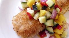 Panko Encrusted Mahi with a Cucumber and Mango Salsa- made this tonight, and Toma can't stop saying amazing! Highly recommend, Shanon