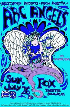 Original concert poster for Arc Angels at The Fox Theatre in Boulder, CO in 2009. 11 X 17 inches. Artwork by Javier Gonzalez.