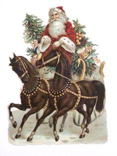 Gorgeous 1800's Christmas Die Cut of Santa Two Brown Horses w Golden Swan | eBay