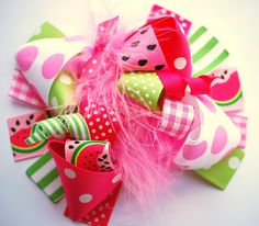 boutique FUNKY FUN pink WATERMELON hair bow clip. $12.99, via Etsy.