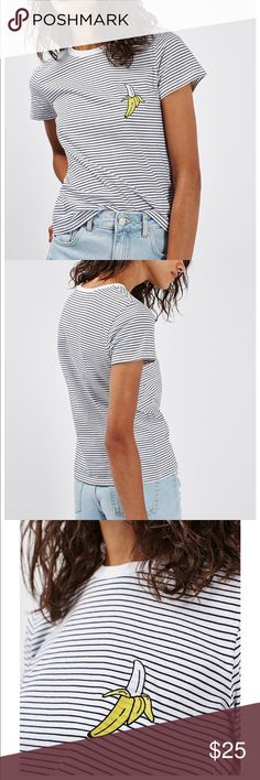 Shop Women's Topshop Black White size 0 Tees - Short Sleeve at a discounted price at Poshmark. Description: Topshop Tee And Cake Banana Striped Black White T-shirt Sz 0 Embroidered Patch Topshop Tops, Embroidered Patch, Fashion Tips, Fashion Design, Fashion Trends, Underarm, Black White, Banana, Shoulder
