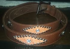 Vintage Retro Women Guess Brown Leather Belt Size Large Diamond Rhinestone #Guess