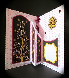 CHRISTMAS TREE A5 with Concertina Insert Mini Kit on Craftsuprint designed by Janet Briggs - made by Cynthia Massey - Printed onto Crafty Bobs matte paper, folded in half an A4 piece of spotty card using the pattern side on the inside, added my concertina insert, decoupaged the front, added modern looking square gems to the front tree and the tree on the insert, added ruffled ribbon to show on the outside and the inside, a very easy card to make which looks good when closed or open, very ...