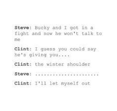 When Clint knows he's gone too far when making a joke about Steve and Bucky's relationship