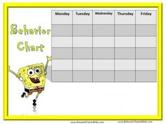 SpongeBob Behavior Charts  Kids Behavior Chart Template