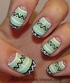 I wish I was cool enough to do this. Tribal Nails.  Love the mint green with neutrals
