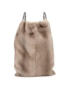 654c0614d1 Brunello Cucinelli Mink Fur Drawstring Backpack w/Monili Straps, Gray.  Zaino Alla ModaBorse ...