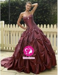 Mode de bal Col en cœur Traîne mi-longue Robe de mariée en Taffetas avec Perle Jupe ample & ornée(FR001082)