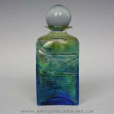 Isle of Wight Studio Glass trailed bottle, designed by Michael Harris