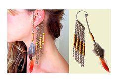 40% OFF Tribal wooden bead,feather, chain ear cuff,Single earring,Multi strand chains wire ear wrap,Boho,Chic,Hippie tassel earring,ear clip...