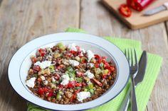 Lentil Salad With Goat Cheese - Salade - Go Veggie, Veggie Recipes, Salad Recipes, Dinner Recipes, Healthy Recipes, Healthy Salads, Healthy Cooking, Healthy Food, Tagine