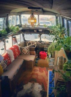 Inside renovated double decker bus. AWESOME.