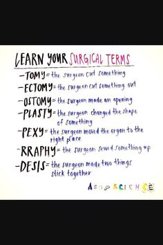 Learn your surgical terms! This is a lifesaver for students in the operating room. Just a cutesy lil FYI This is so helpful. Especially when you're reading a patients medical history, doctors progress notes, nursing notes, nursing exams, nclex, etc.