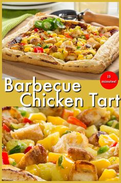 With just 15 minutes you can whip up this easy Barbecue Chicken Tart, topped with a homemade fruit salsa that's to-die-for.