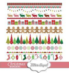 #Digital #Christmas Borders  Xmas Printable Ribbons by #MissAngelClipArt