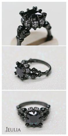 Gothic Jewelry Rings Four Skull Princess Cut Created Black Diamond Skull Ring Gothic Engagement Ring, Black Diamond Engagement, Vintage Engagement Rings, Solitaire Engagement, Skull Jewelry, Gothic Jewelry, Diamond Jewelry, Fine Jewelry, Diamond Rings