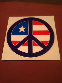 "Purple Peace Sign with Flag 5""x5"" Decal STICKER new old stock"