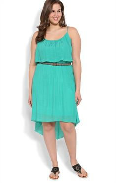 Plus Size High Low Dress with Belted Waist and Ruffle Bodice cute and casual