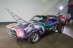 "THE UNISTANG: 1968 Ford Mustang Unicorn Pride Parade Car. Complete with removable bejazzled ""unihorn"" (TM), magnetic ""go faster"" wings , custom sparkle rainbow unicorn paint job and fluffy purple seat covers. Unicorn Car, Rainbow Unicorn, Unicorn Birthday, Unicorn Pics, Beautiful Unicorn, Magical Unicorn, Lorie, Unicorns And Mermaids, Custom Bikes"
