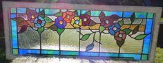 Victorian Flower Vine Leaded Stained Glass Window | eBay