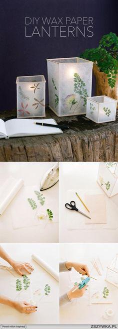 lantern - wax paper pressed flowers