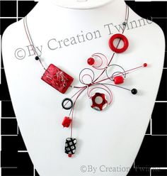 red and black necklace, unique contemporary design, bridal jewelry,funky necklace, bridesmaids gift ,mothers days gifts, wedding jewelry by creationtwinne, $39.50