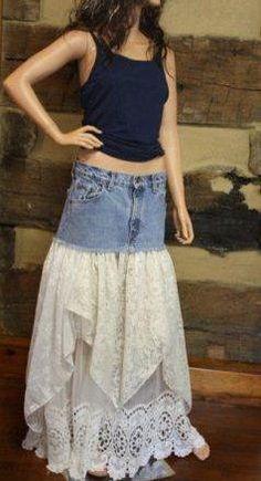 Upcycled Denim Madi Hippie Skirt
